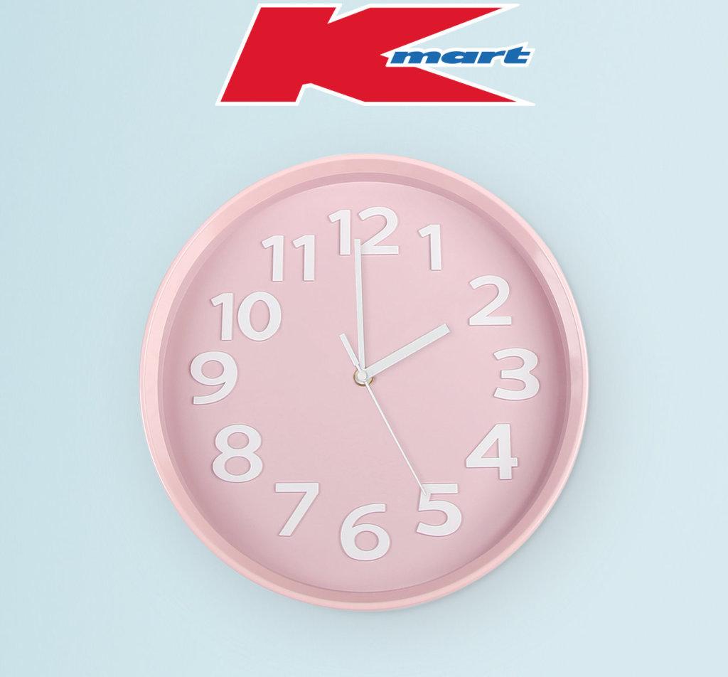 Kmart logo above a pink clock