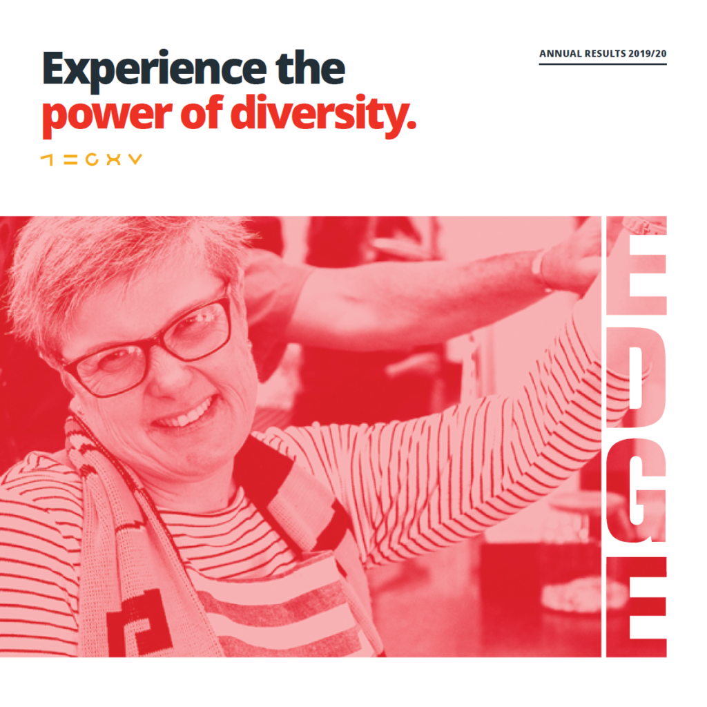 Annual Report Cover image of client Kylie and text 'Experience the power of diversity'