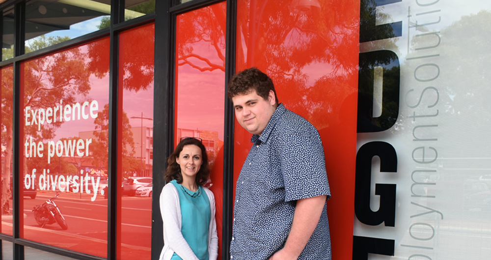 Daniel with his Job Coach Tania outside of the Edge office