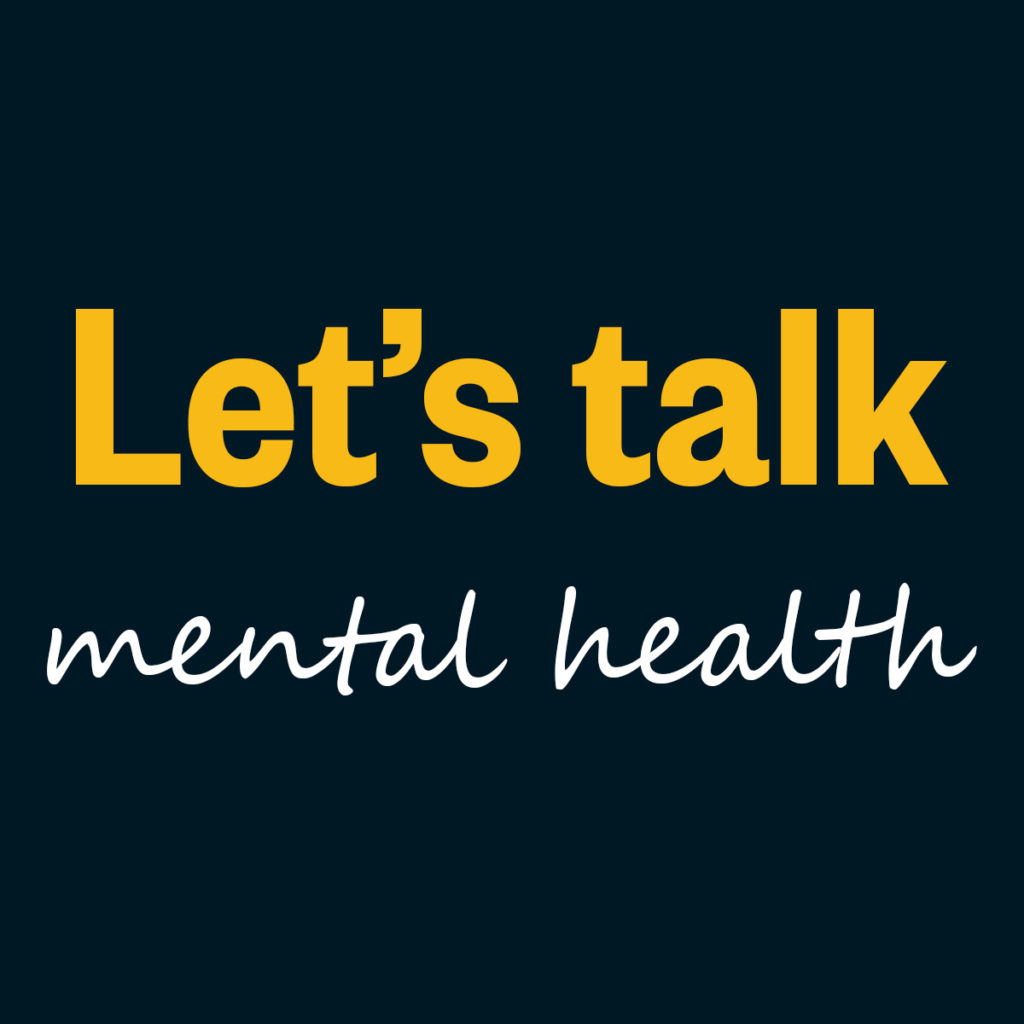 Image featuring the text- let's talk mental health